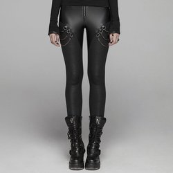 PUNK RAVE Women's Gothic Faux Leather Skinny Leggings with Metal Chains Punk Rock Pencil Pants Casual Women Sexy Leggings
