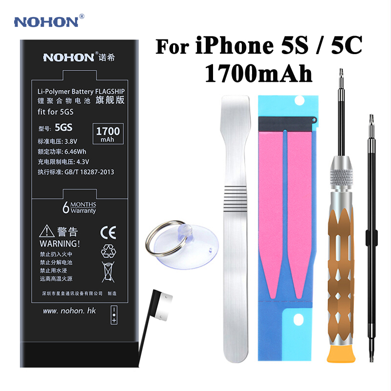 Nohon Batteria Ricaricabile Per Apple iPhone 5 s 5C 5GS Ad Alta Capacità 3.8 v 1700 mah Li-polymer Li-Ion batteria CON Strumenti + Adesivo