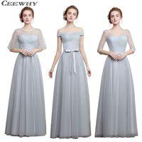 CEEWHY Light Gray 4 Style One-Shoulder A-Line Tulle 2017 Elegant Bridesmaid  Dresses 98efc0561102