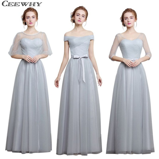 bf134087567 CEEWHY Light Gray 4 Style One-Shoulder A-Line Tulle 2017 Elegant Bridesmaid  Dresses Long Wedding Party Dress Formal Gowns