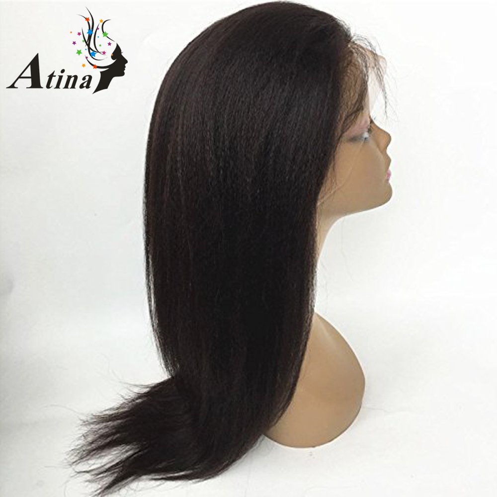 Kinky Straight Wig Brazilian Remy Full Lace Human Hair Wigs For Black Women Light Italian Yaki