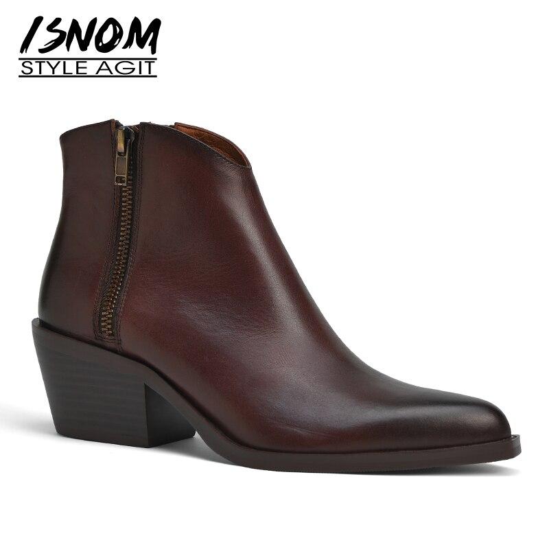 Isnom botas de couro de vaca feminina tornozelo apontou toe calçados cubanos salto alto do sexo feminino ocidental bota sapatos de moda mulher inverno 2020
