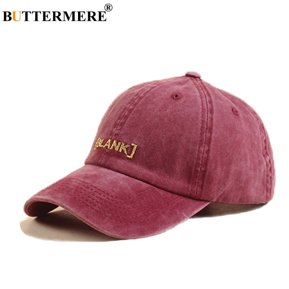 BUTTERMERE Letter Baseball Cap Women Embroidery Washed Denim Hat Ladies Burgundy High Quality Sun Spring Female Snapback