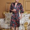 Nueva Llegada de Los Hombres Chinos de Seda Robe Tradicional Impreso Kaftan Kimono Bath Vestido de La Novedad Unisex Pijama de Dormir Más El Tamaño