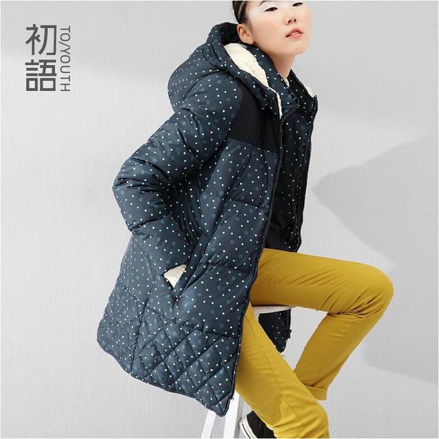 Toyouth Alta Qualidade Casaco de Inverno Mulheres Polka Dot Tamanho Plu Pato branco Para Baixo Jaqueta Casaco Com Capuz de Lã Thicking Outwear Quente Longo casaco