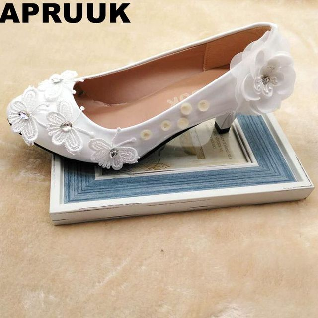New coming fashion white lace butterfly wedding shoes bride plus sizes low  high heel european woman s bridal flower pumps shoes 9ce3db60c88a