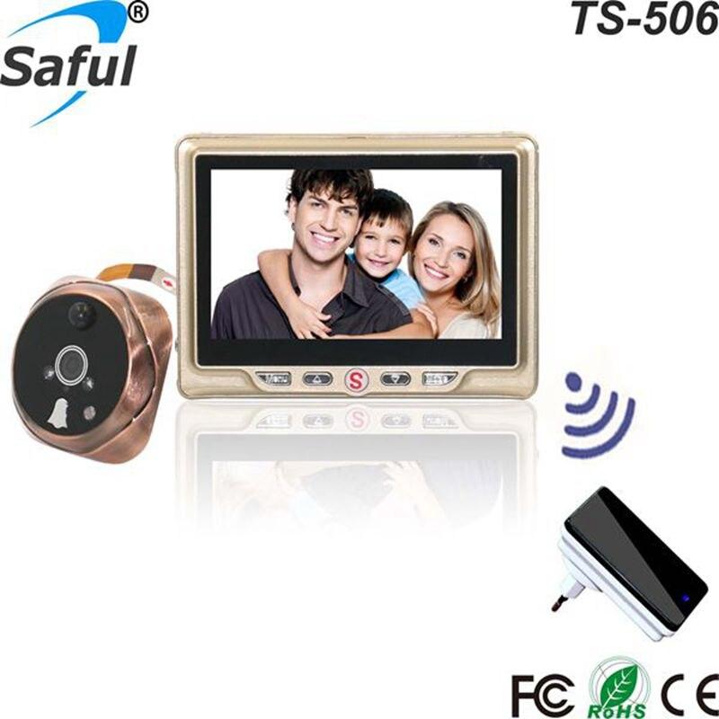 Цифровой видео просмотра с несколькими языками HD 4.3 TFT-LCD записываемый глазок с одной беспроводной дверной звонок бесплатная доставка