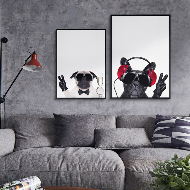 Moderne Leuke Bulldog Schilderijen Vintage Grote Kunst Poster Muur ...