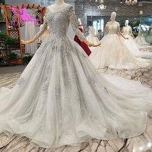 AIJINGYU 간단한 웨딩 드레스 소매 레이스 가운 가운 맞춤 공 러시아어 가운 아랍어 웨딩 드레스