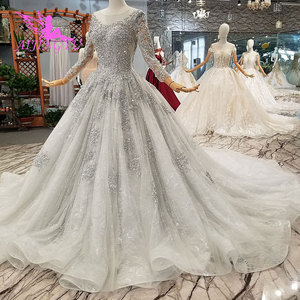 Image 1 - AIJINGYU 간단한 웨딩 드레스 소매 레이스 가운 가운 맞춤 공 러시아어 가운 아랍어 웨딩 드레스