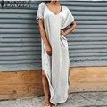 Zanzea mujeres side de split summer dress v cuello corto de la manga playa larga maxi loose vestidos vestidos de color sólido femenino plus tamaño