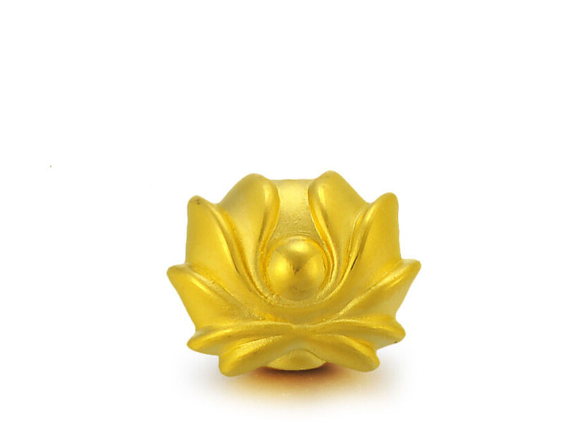 Pure 999 24K Yellow Gold Lucky Lotus Flower Bead Pendant / 1-2g pure 999 yellow gold lucky 3d yuanbao chook bead pendant 1 17g