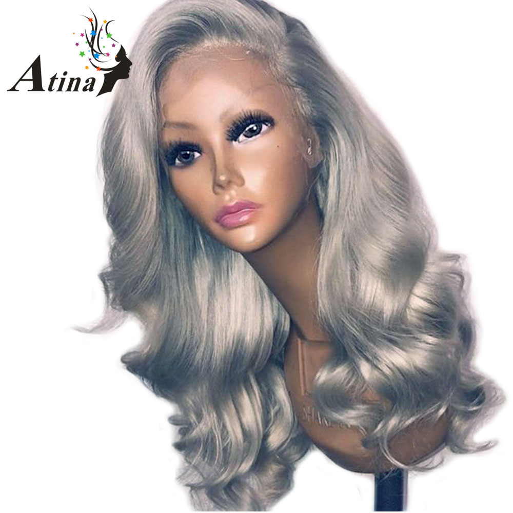 Grey Color Human Hair <font><b>Lace</b></font> Front <font><b>Wig</b></font> 150% Density Brazilian Remy Body Wave <font><b>Lace</b></font> Front Virgin Hair <font><b>Wigs</b></font> Pre Plucked <font><b>10A</b></font> Wavy Hair image