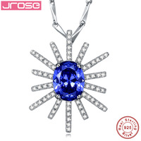 Jrose The god of the sun Luxurious Jewelry Gift Blue AAA CZ 100% Solid 925 Sterling Silver Pendant for Women Gift With Chain