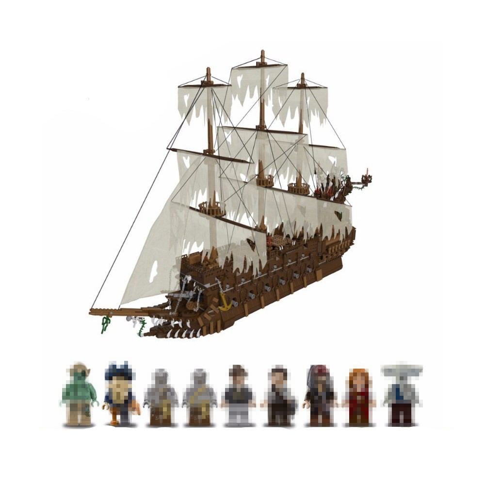 Lepin 16016 3652Pcs The Flying the Netherlands ship Building Blocks Pirates of the Caribbean Movies Series MOC  Bricks boys gift lepin 16042 pirates of the caribbean ship series the slient mary set children building blocks bricks toys model gift 71042