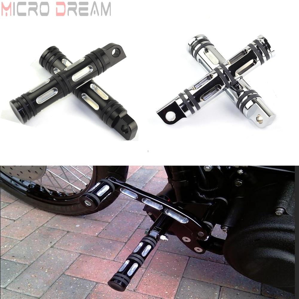 1 Paar Mannelijke Mount Footpeg Motorcycle Chrome/zwart Voetsteunen Footrest Voor Harley Sportster Dyna Straat Bob Touring Road Glide