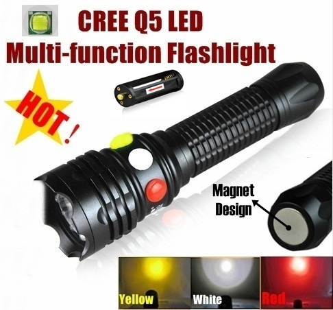 XH-99 CREE Q5 LED signal light Yellow White Red Flashlight LED Torch Bright light signal lamp For 1x18650 or 3 x AAA Battery mini 8 led 30lm white light flashlight w 5mw red laser black 3 x aaa