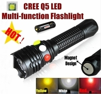 XH 99 CREE Q5 LED signal light Yellow White Red Flashlight LED Torch Bright light signal lamp For 1x18650 or 3 x AAA Battery