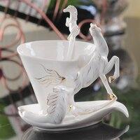 New Arrival Horse Enamel Coffee Cup Porcelain Tea Milk Set Creative Ceramic Drinkware European Bone China Creative Gifts