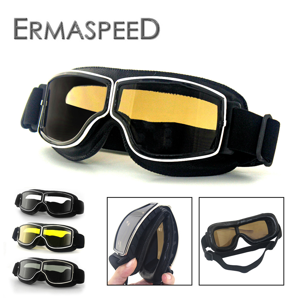 e77ae37e26 Motorcycle Goggles Helmet Pilot Aviator Motorbike Vintage Cycling Cruiser  Scooter Glasses Universal Goggles Foldable For Harley