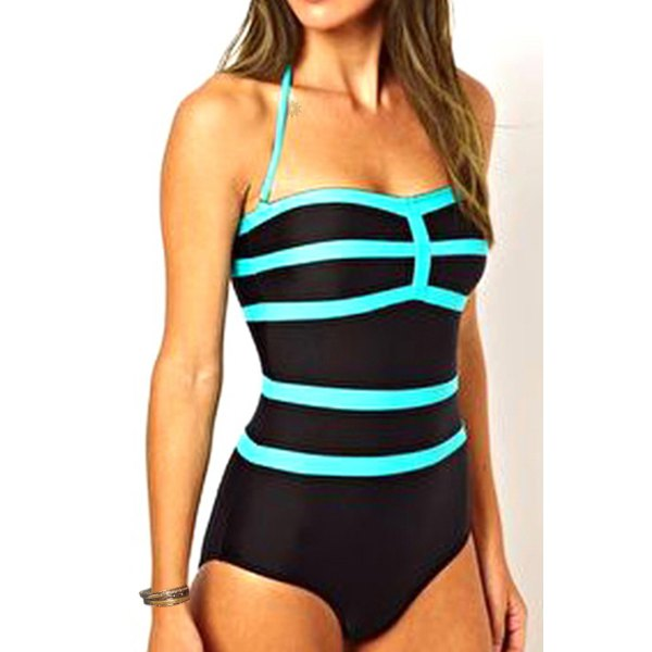 ced46971f5298 2016 New Summer Bathing Suit Sexy Stripe Halter Color Block One Piece  Swimsuit for Women Push