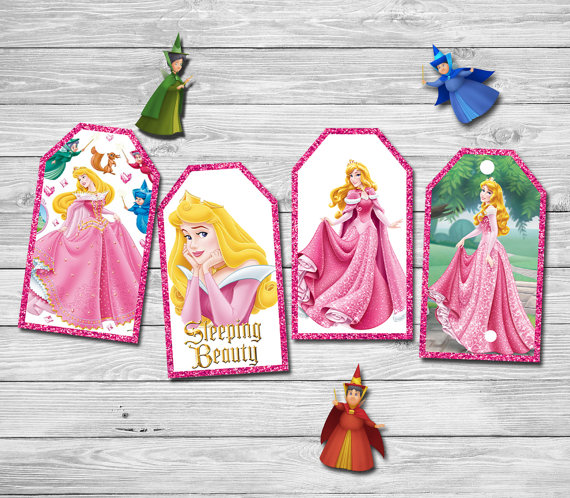 Princess Aurora Thank You Tags Labels Gift Favors Sleeping Beauty