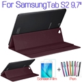 """Luxury Stand Smart Cover PU Leather Case for Samsung Galaxy Tab S2 9.7"""" T810 T813 T815 T819 Tablet Cases+Screen Protector+Pen"""
