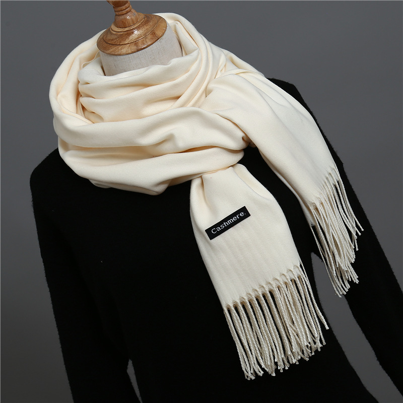 2019 New Fashion Women Spring Winter Cashmere   Scarf   Female Shawl and   Wrap   Lady Solid Pashmina Long Size Head   Scarves   Hijab Stole