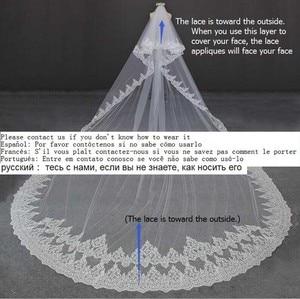 Image 5 - יוקרה 5 מטרים מלא קצה עם תחרה בלינג פאייטים שני שכבות ארוך חתונת רעלה עם מסרק לבן שנהב כלה רעלה