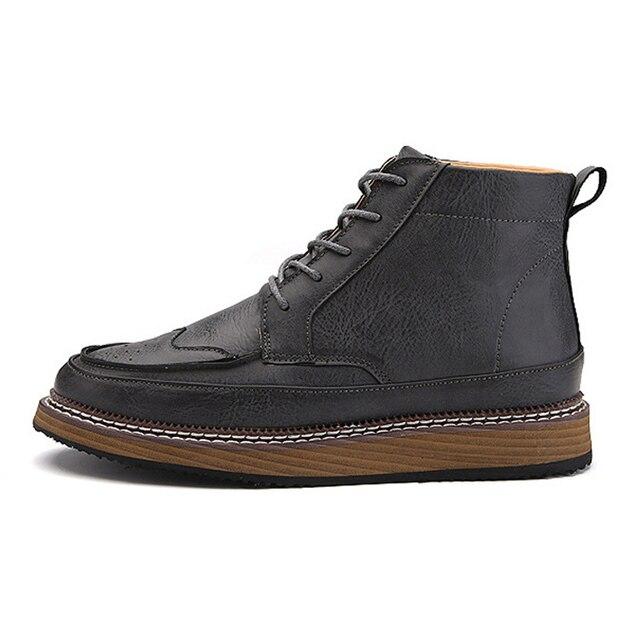 39-44 мужские ботинки Моды Мартин Сапоги Кожаные Ботинки мужские Лодыжки Черный Весна Пинетки Ковбойские Загрузки Мода