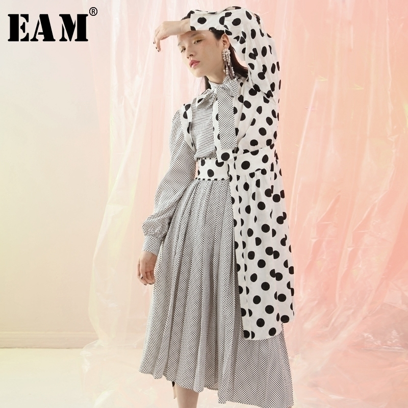 [EAM]2018 New Autumn Lapel Long Sleeve Black Bow Dot Striped Prined Split Joint Pleated Irregular Dress Women Fashion Tide JF359