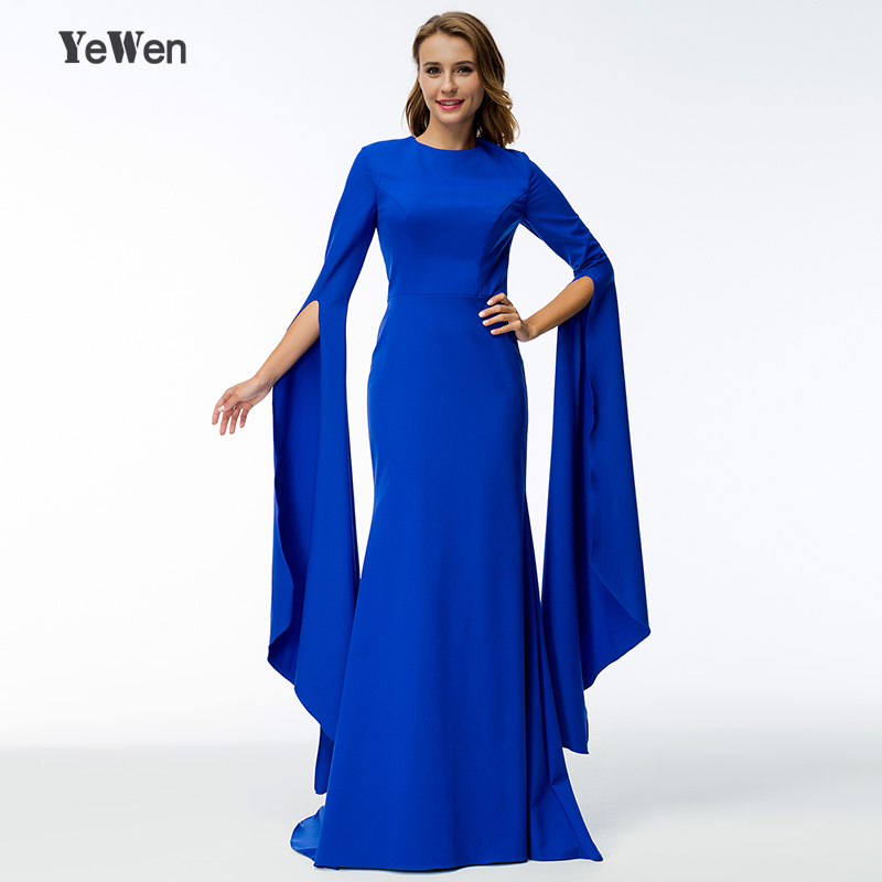 royal blue long sleeve mermaid formal evening dress 2018 party for ...