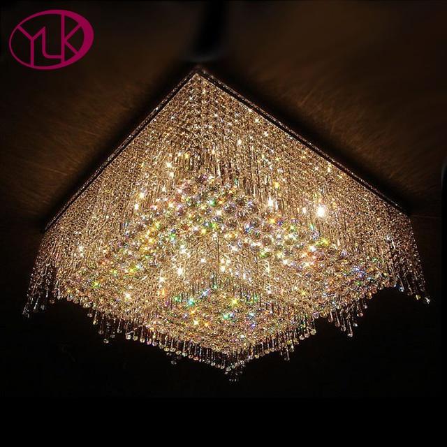 Youlaike Modern Chandelier Lighting Flush Mount Crystal Light Square