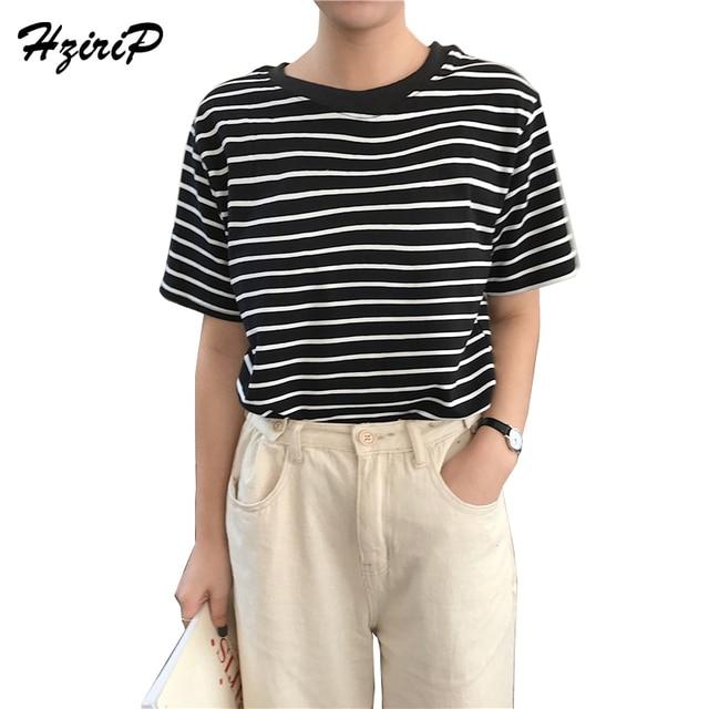 HziriP Striped Short T-shirts O-Neck Summer 2018 Women Loose Tee Shirt  Ladies f9748fdbd7