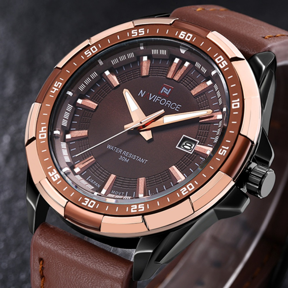 2016 New Luxury Brand Date Genuine Leather Men Quartz Watch Rose Gold Casual Sports Watches Men Wrist Watch Relogio Masculino
