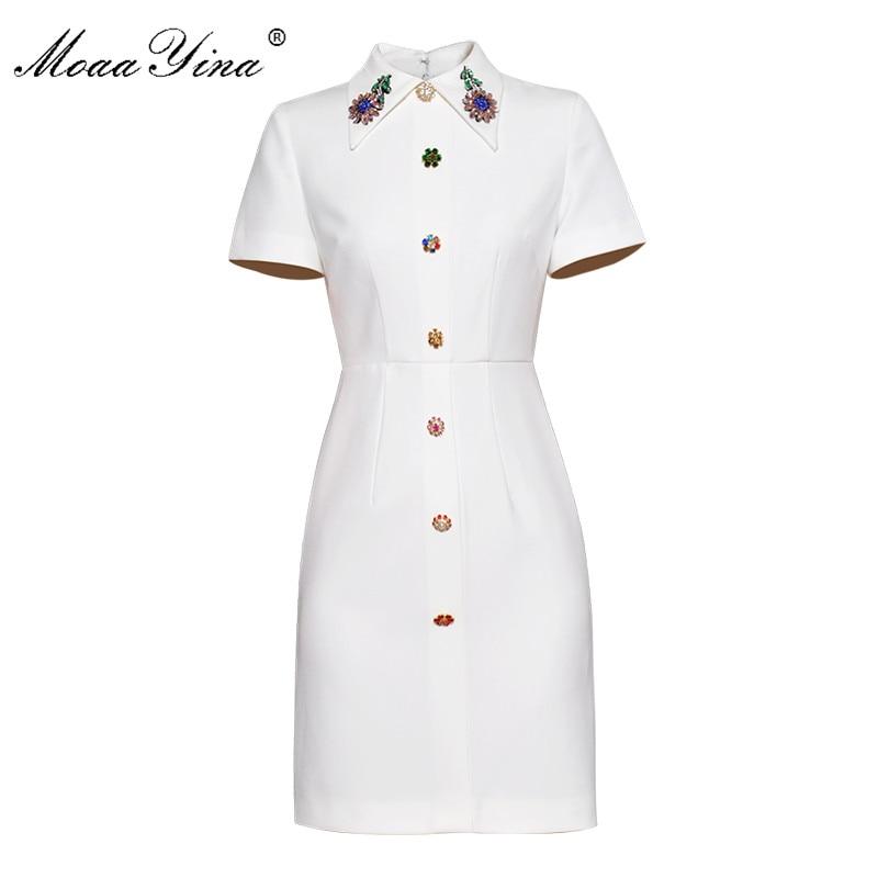 MoaaYina 2018 Fashion Designer Runway Dress Summer Women Short sleeve Turn down Collar Crystal Diamond loveliness Elegant Dress