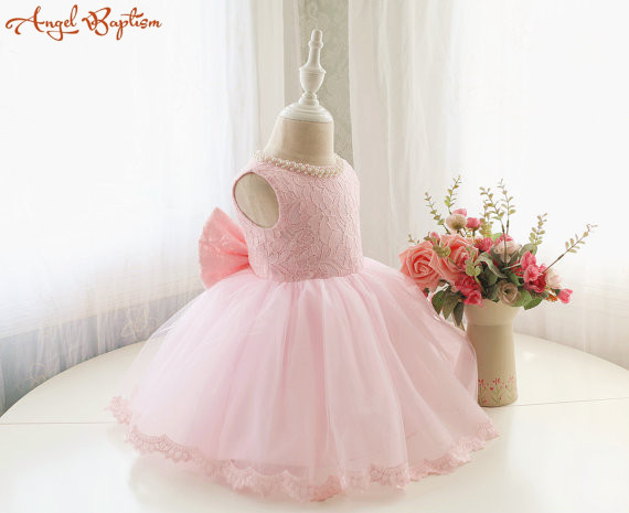 Fancy Baby Pink Pageant Dress Infant Thanksgiving Dresses Baby Christmas Toddler Birthday frock for Girl with pearls and big bow