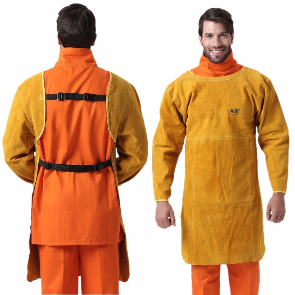 Leaether Welding Apron Cape Sleeves & Bib Apron Flame/Heat/Abrasion Resistant Cowhide Leather Worker Cloths of Welding wear resistant cowhide welding leather sleeves of welder clothing with high temperature resistance working safety sleeves g0823