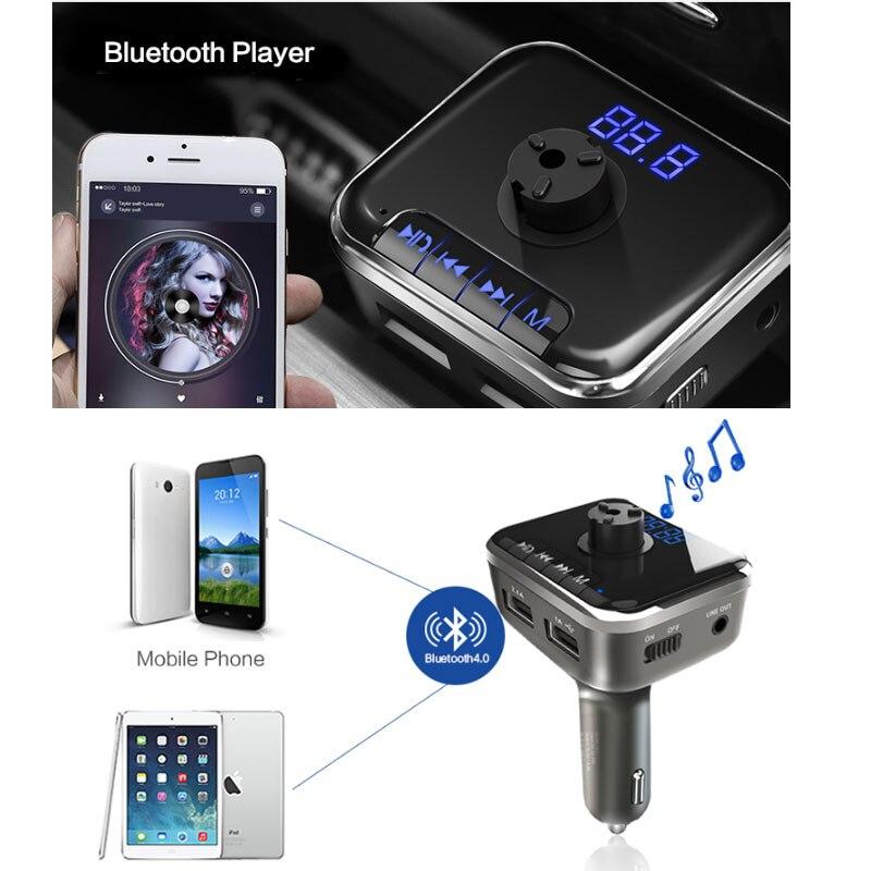 JINSERTA Bluetooth FM Transmitter Handsfree Car Kit MP3 Player TF U Disk Audio Receiver w/ Car Emergency Rescue Safety Hammer
