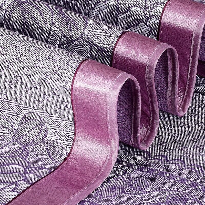 Three-piece Folding Bed-mat for Summer Viscose Fiber Jacquard Summer Sleeping Mat Kit for Adults Purple Green Gold #214