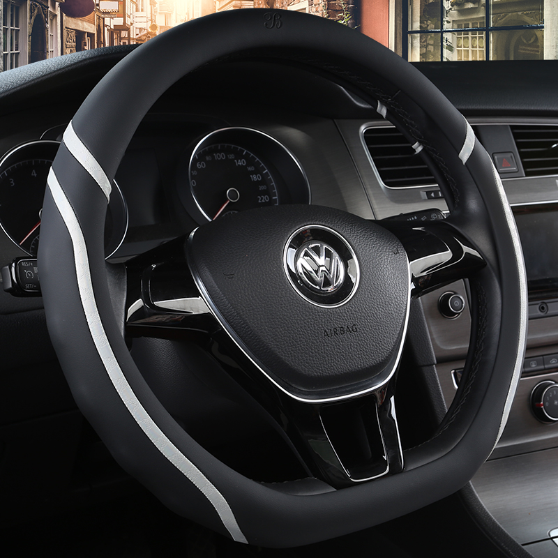 KKYSYELVA D Shape Auto Car Steering Wheel Cover Leather 38CM wheel covers Interior accessories