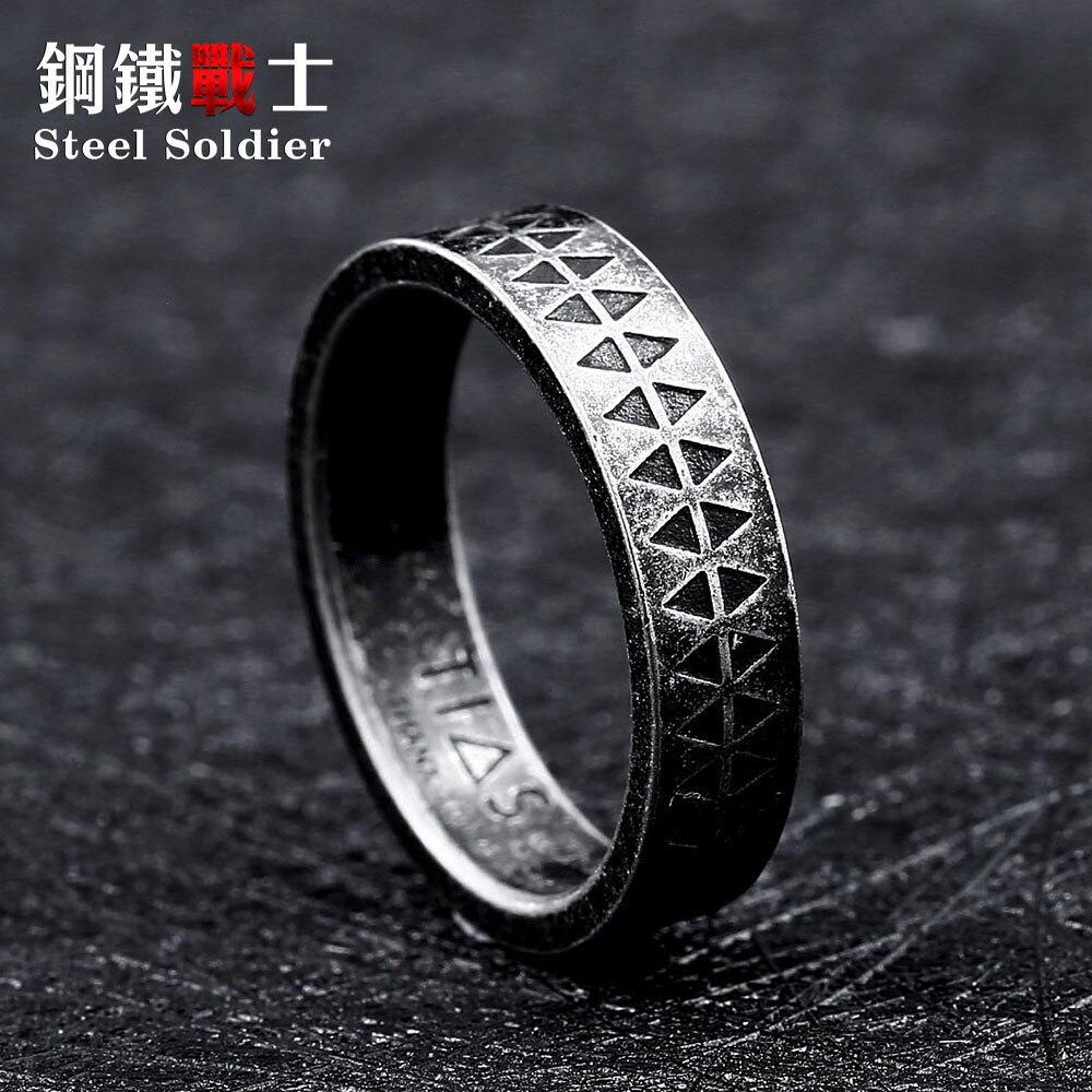 Anneau simple de mode soldat en acier pour les femmes et les hommes offre spéciale populaire bijoux de style viking