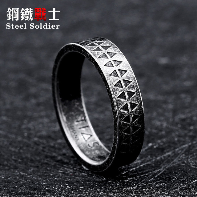 Steel soldier fashion simple ring for women and men popular hot sale viking styl