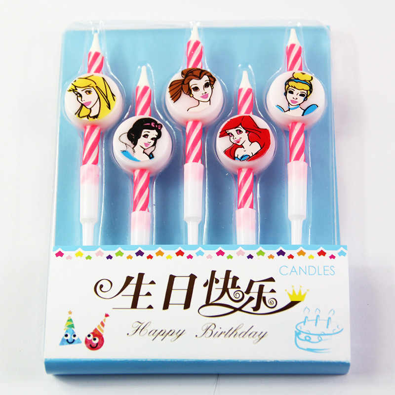 5pcs Lot Princess Theme Cake Candles Party Candles Kids Birthday Party Cake Topper Party Decoration Supplies Aliexpress