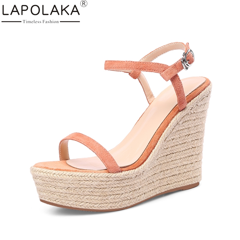 LAPOLAKA 2018 Kid Suede Genuine Leather Wedges High Heel Woman Shoes Cross Strap Solid Women Shoes Summer Sandals lapolaka 2018 brand new horsehair woman elegant wedges high heel women shoes platform black summer sandals women