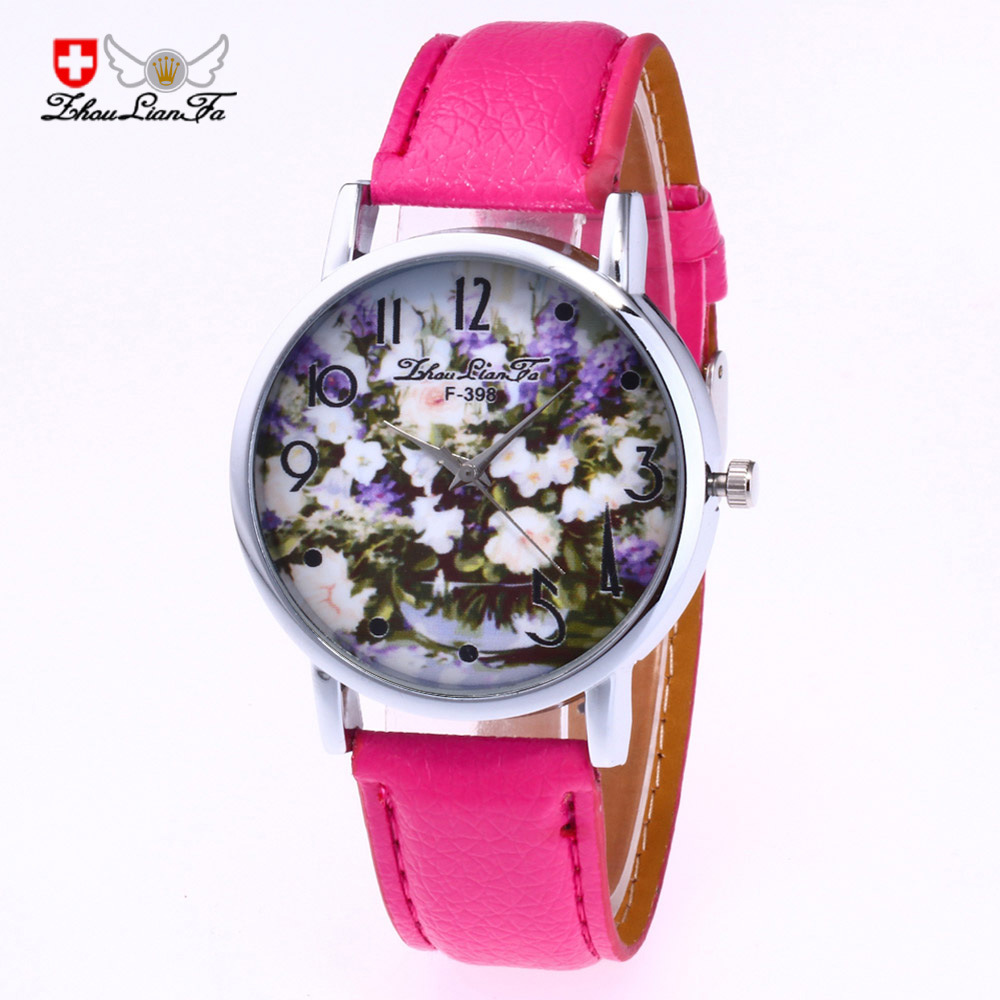 Fashion Bottle Flower Pattern Digital Scale Silver Alloy Dial 20mm Leather Strap Men Quartz font b