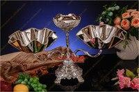 4 pz/lotto All'ingrosso Brillante Colore Metallo 3 Ciotole D'argento Spuntino Vassoio Della Caramella Piatto a Forma di Fiore per la Cerimonia Nuziale Festa A Casa evento Decotation