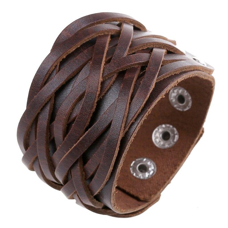 Punk Style Men Women Cow Leather Bracelet Handmade Braid Wrap Cuff Bangle Bracelet Brown Black Color Fashion Jewelry Gift