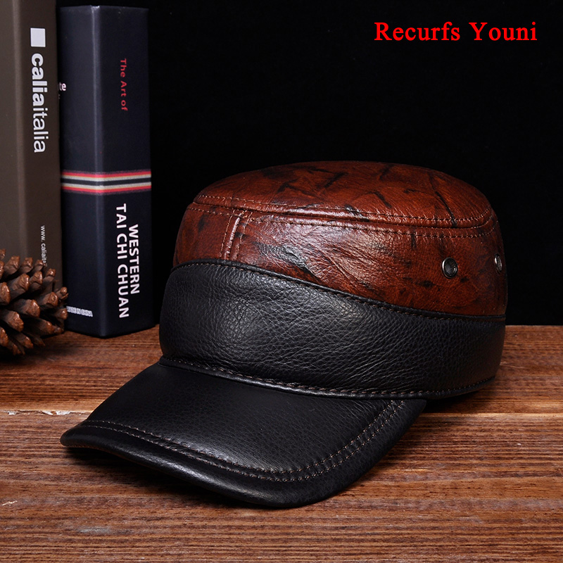 RY106 Spring 2019 Male Classic Genuine Leather Casual Adjustable Baseball Caps Solid Color Patchwork Flat Hats