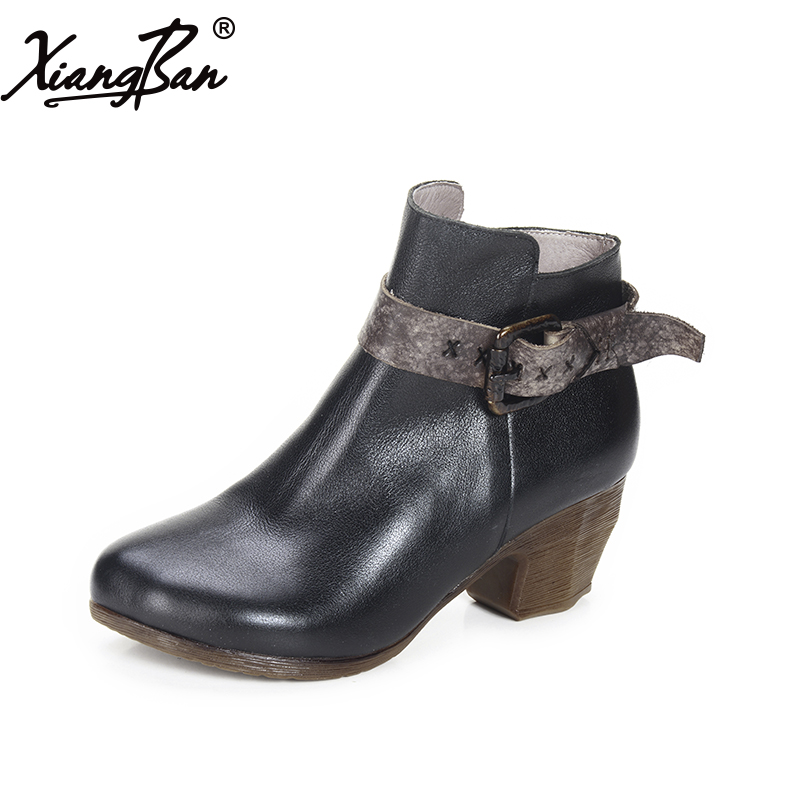 Xiangban Genuine Leather Women Boots Buckle Handmade Vintage High Heel Shoes Autumn Woman Casual Boots Black xiangban handmade genuine leather women boots high heel ankle boots pointed toe vintage shoes red coffee 6208k11